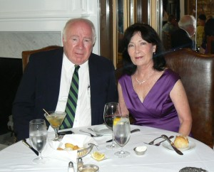 My husband George and I at the Pink House in Savannah, Georgia
