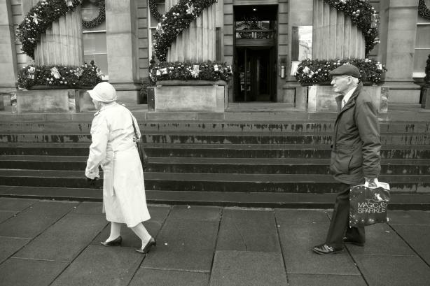 man following woman